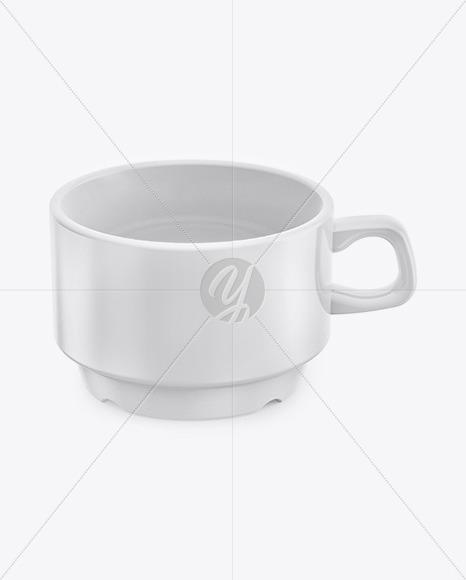 Ceramic Glossy Cup Mockup (High-Angle Shot)
