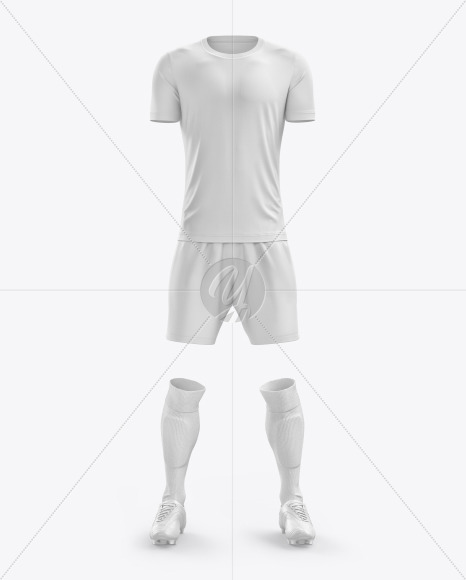 Men's Full Soccer Kit with Crew Neck Jersey mockup (Front View)