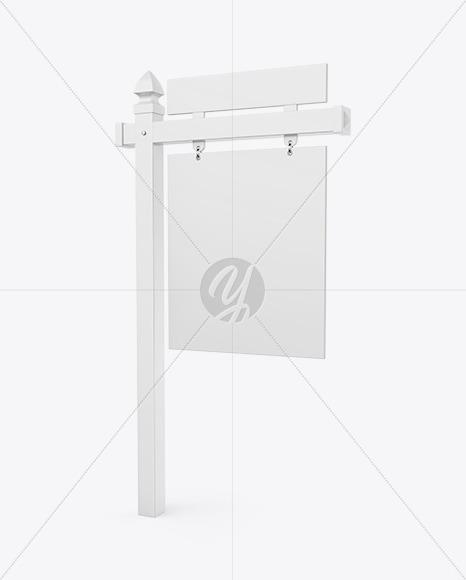 Realtor Sign Mockup - Half Side View