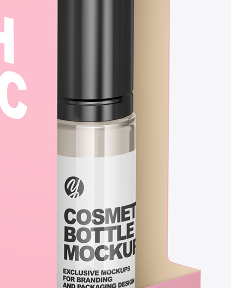 Box with Cosmetic Bottle Mockup