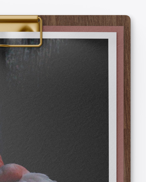 Wooden Clipboard w/ 2 Textured Papers Mockup