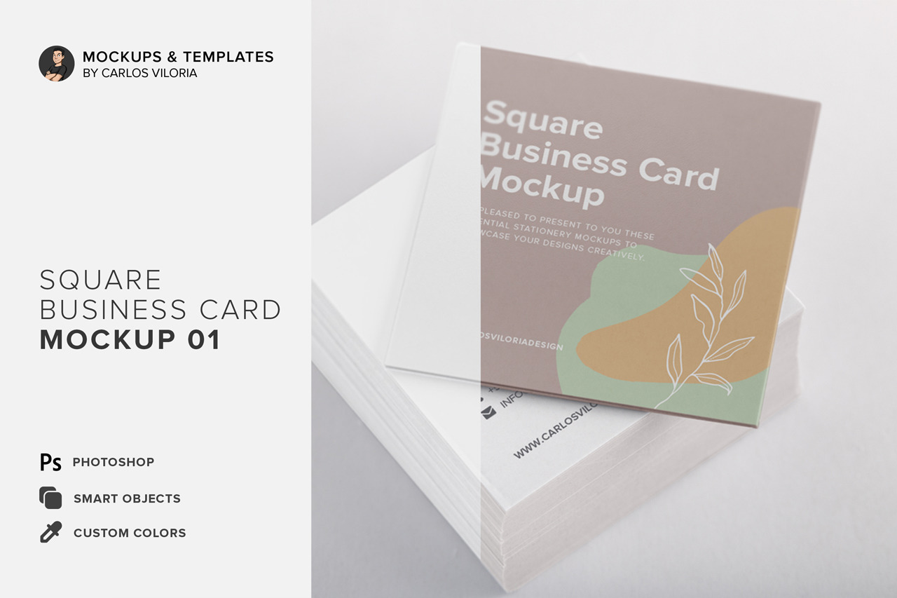 Square Business Cards Mockup 01 In Stationery Mockups On