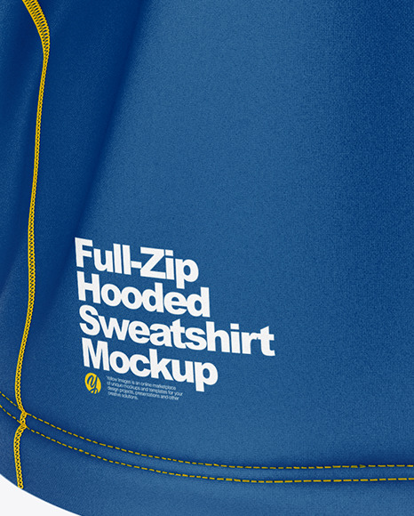 Full-Zip Hooded Sweatshirt Mockup – Back View