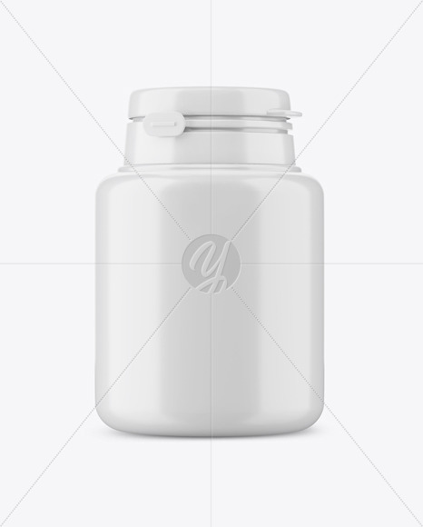 Chewing Gum Plastic Jar Mockup - Front View