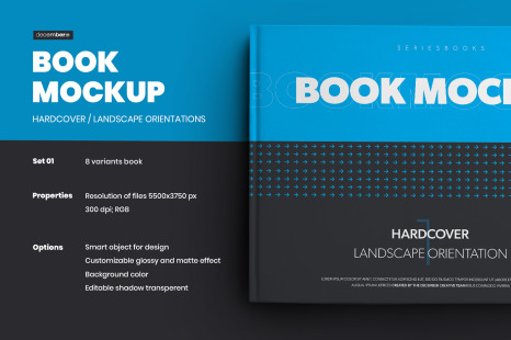8 Book Mockups Hard Cover Landscape Oriantation In Stationery