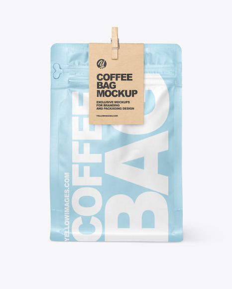 Matte Coffee Bag With Clip Mockup