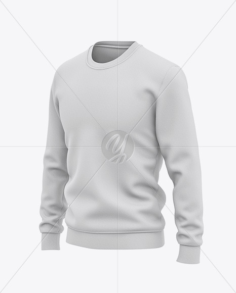 Men's Sweatshirt Mockup - Front Half Side View Of Sweater