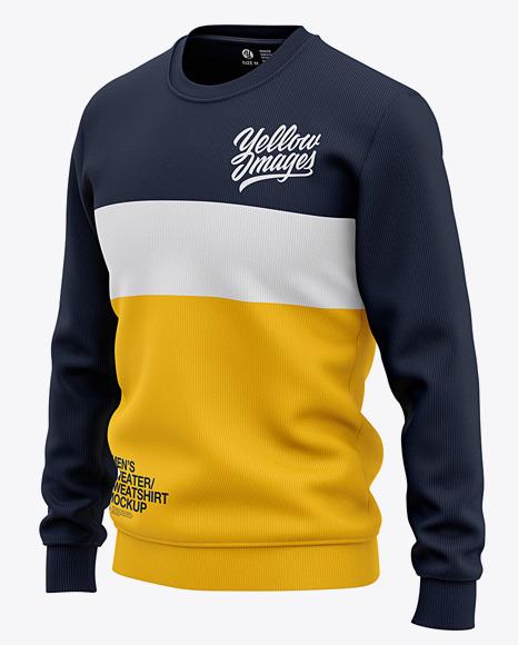 Men's Sweatshirt Mockup - Front Half Side View Of Sweater