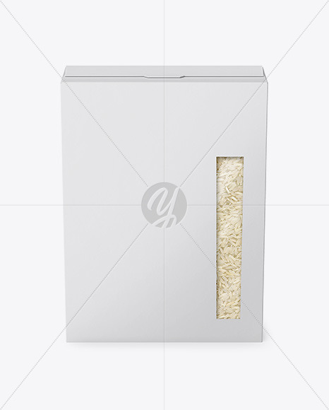 Paper Box with Rice Mockup - Front View