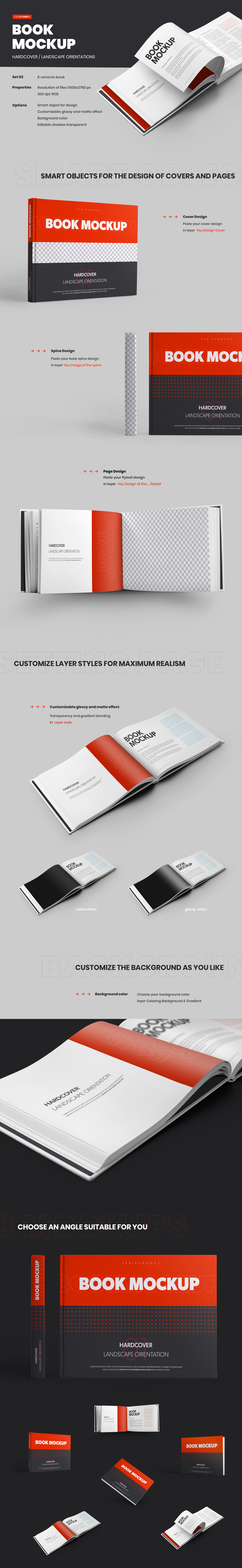 Download 8 Book Mockups Hard Cover Landscape Oriantation In Stationery Mockups On Yellow Images Creative Store PSD Mockup Templates