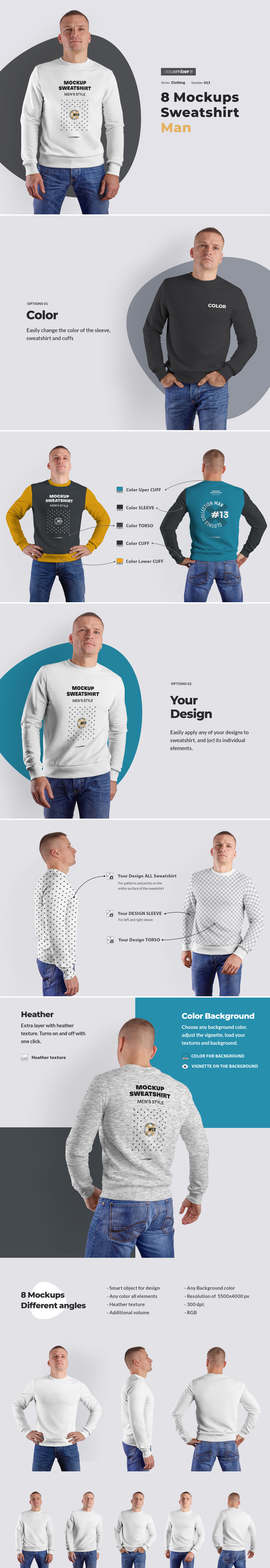 8 Mockups Mens Sweatshirt