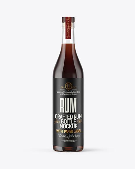 Clear Glass Rum Bottle Mockup