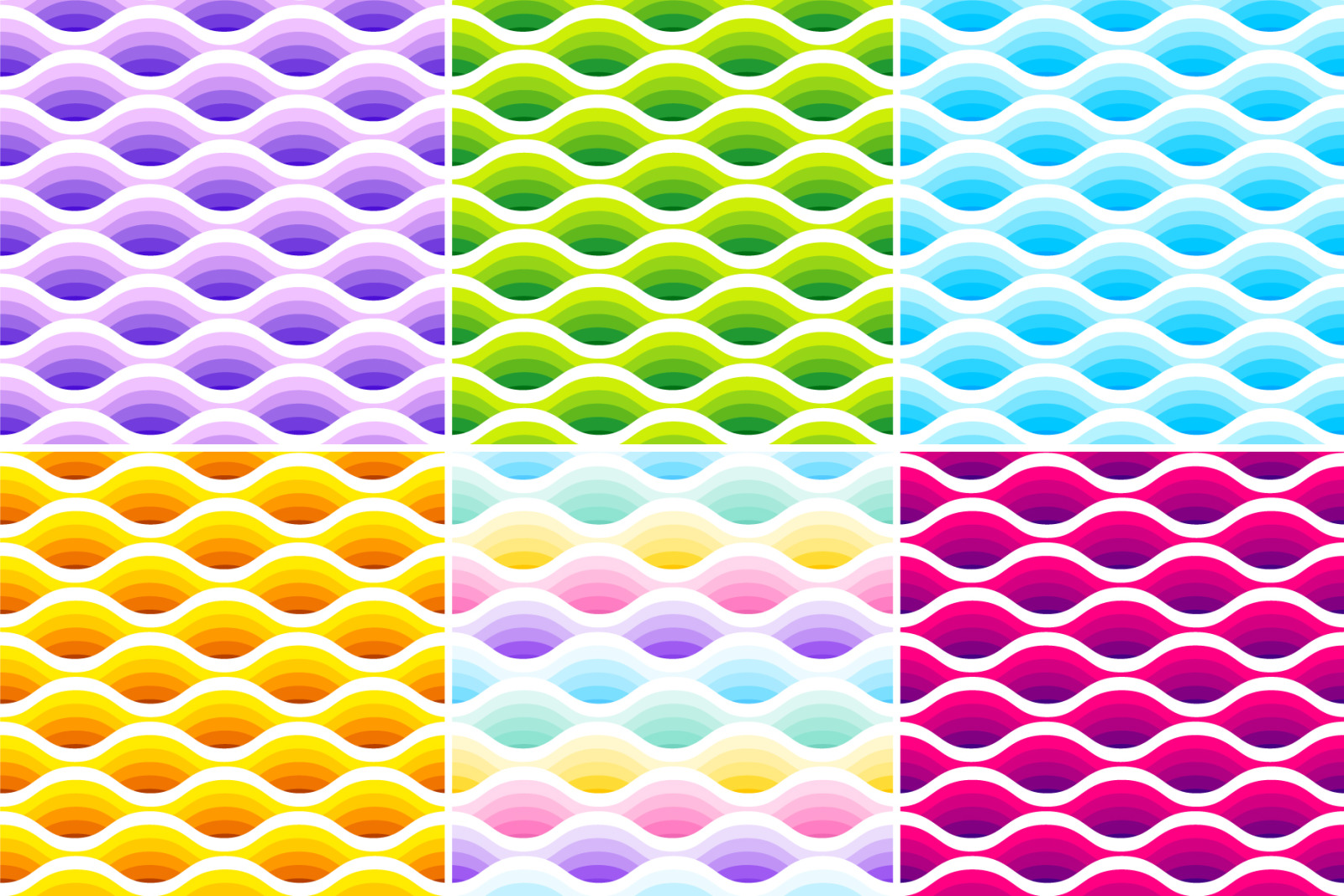 Wave seamless patterns collection. Set of 6 different colours.