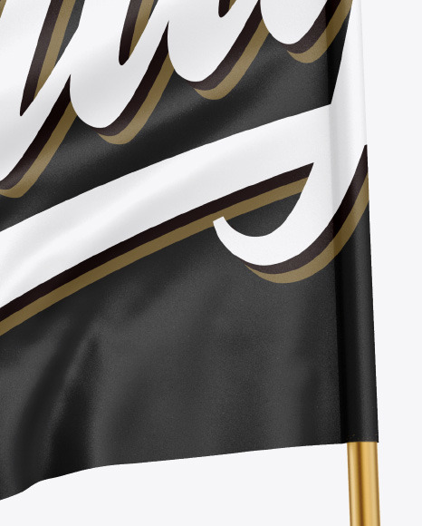 Glossy Flag w/ Metallic Pole Mockup