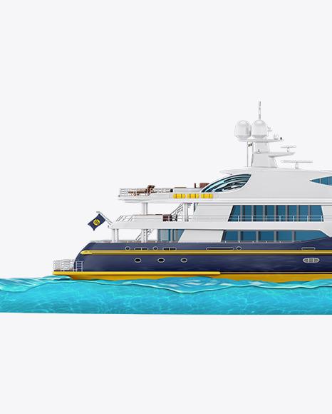 Yacht w/water Mockup - Side View