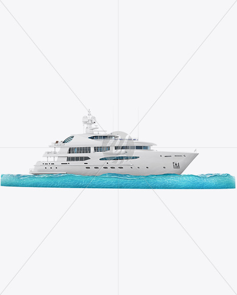 Yacht w/water Mockup - Half Side View