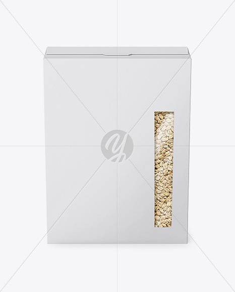 Paper Box with Oatmeal Mockup - Front View