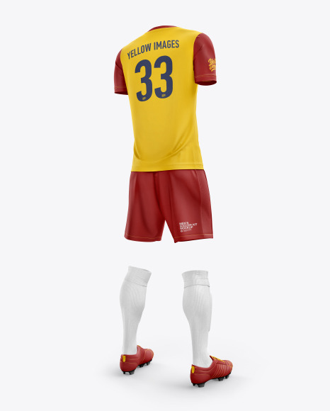 Men's Full Soccer Kit with Crew Neck Jersey mockup (Hero Back Shot)