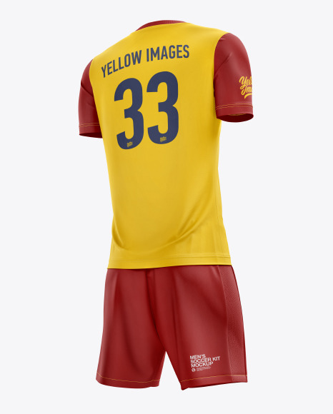 Download Mens Full Soccer Kit With Mandarin Collar Shirt Mockup Back View Yellow Images