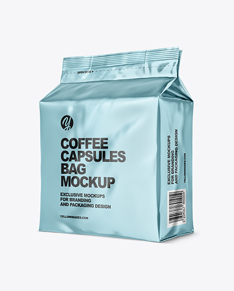 Metallic Bag with Coffee Capsules Mockup