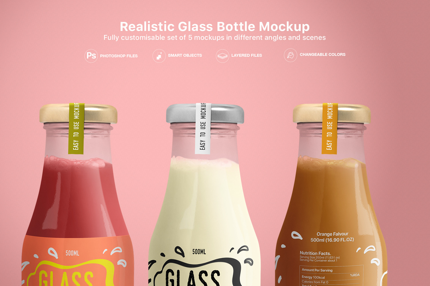 Download Realistic Glass Bottle Mockup In Packaging Mockups On Yellow Images Creative Store PSD Mockup Templates