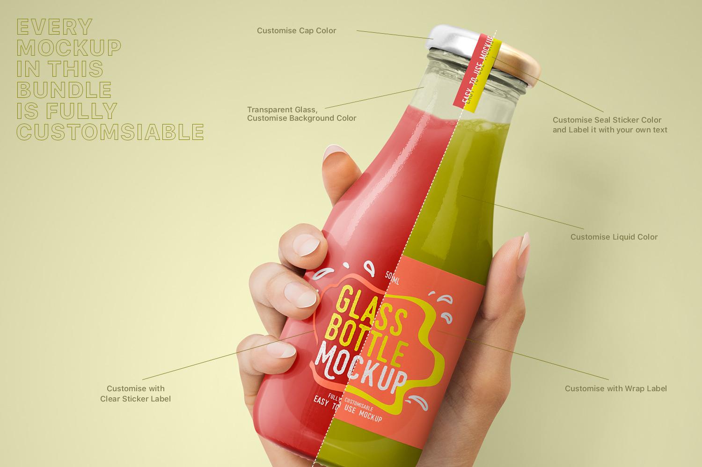 Realistic Glass Bottle Mockup