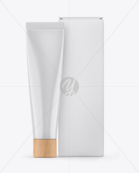 Download Glossy Cosmetic Tube W Box Mockup In Stationery Mockups On Yellow Images Object Mockups PSD Mockup Templates
