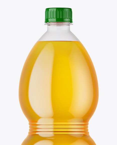 PET Bottle with Apple Juice Mockup