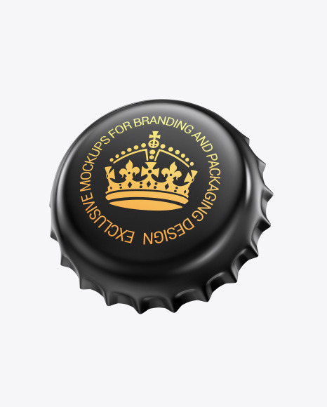 Glossy Metallic Bottle Cap Mockup
