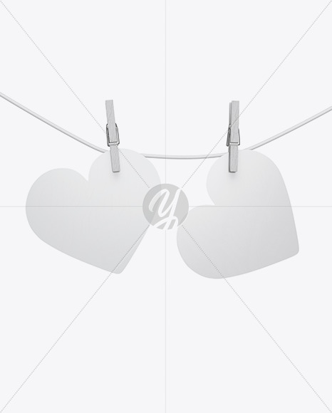 Heart Shaped Cards w/ Pins Mockup