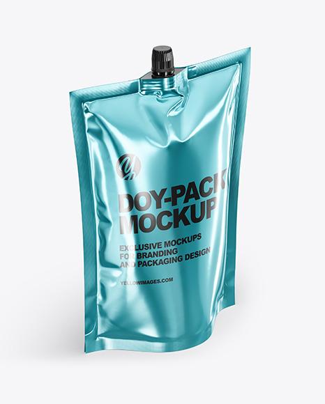 Glossy Metallic Doy-Pack Mockup