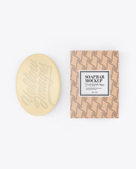 Kraft Box With Soap Mockup
