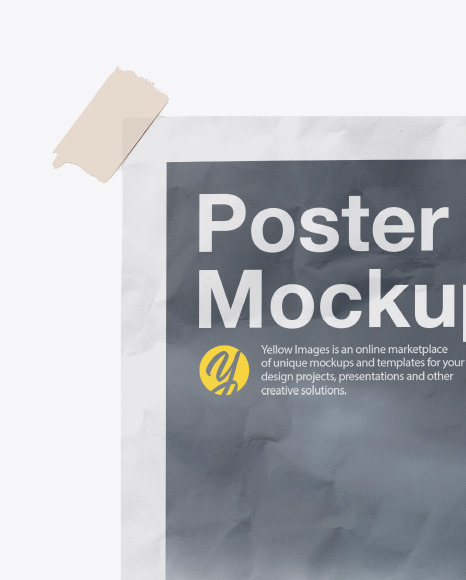 Textured Poster W Tape Mockup In Stationery Mockups On Yellow