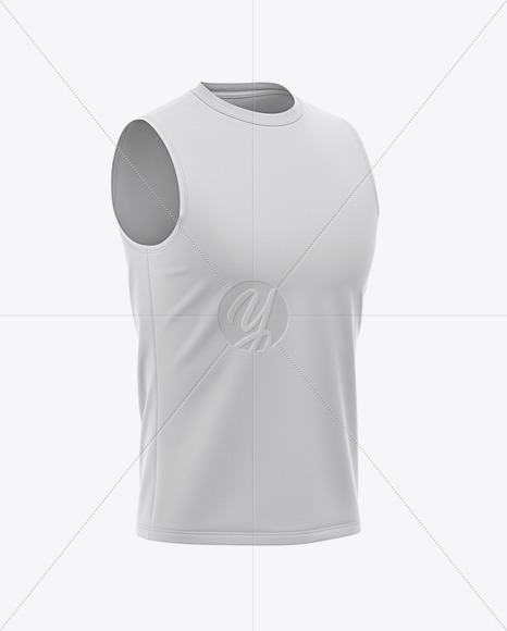 Men's Sleeveless Shirt Mockup - Front Half Side View Of Muscle Shirt