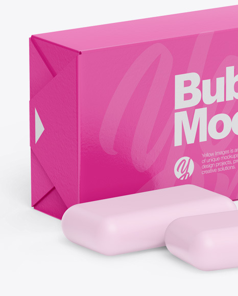 18+ Chewing Bubble Gum Pads Kraft Packaging Half Side View