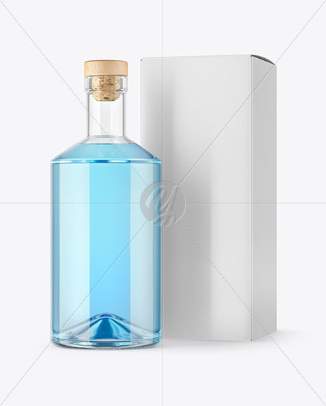Clear Glass Gin Bottle with Box Mockup