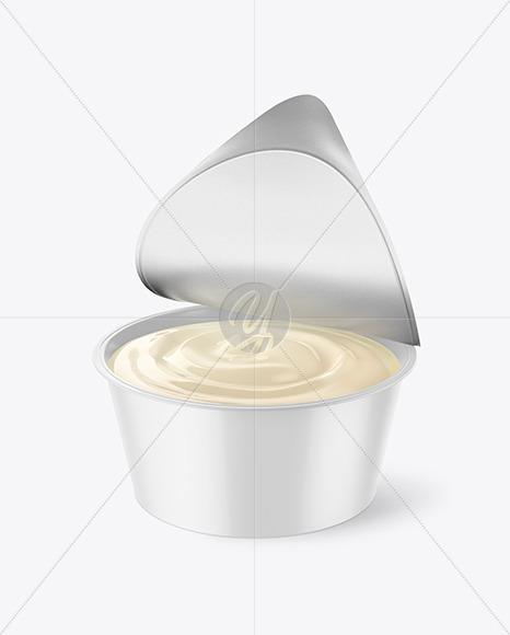 Opened Glossy Yogurt Cup Mockup
