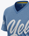 Men's Heather Loose-Fit T-shirt Mockup - Half-Side View Of Melange Tee
