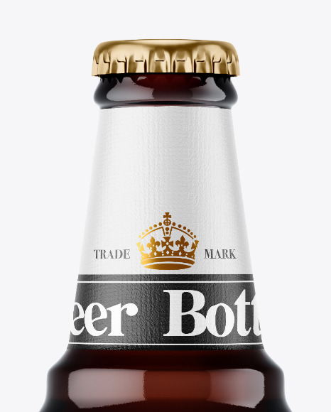 600ml Amber Beer Bottle Mockup