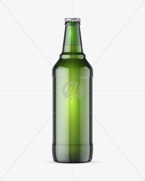 600ml Green Beer Bottle Mockup