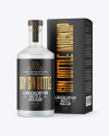Frosted Glass Gin Bottle with Box Mockup