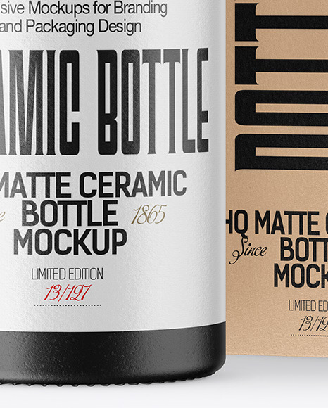 Ceramic Bottle with Box Mockup