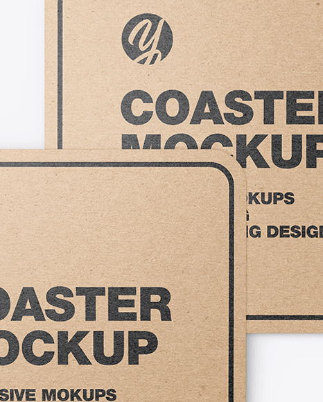 Kraft Beverage Coasters Mockup