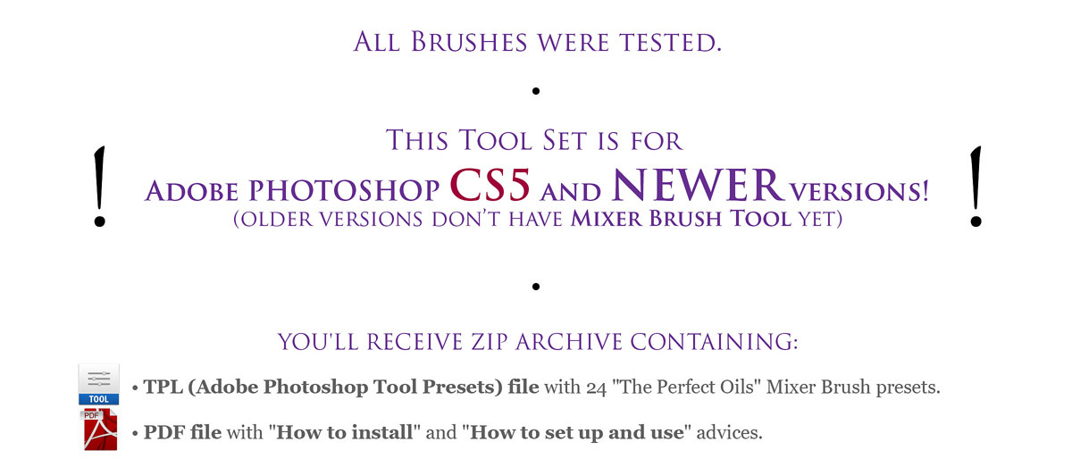 The Perfect Oils. Part 1. 24 Mixer Brush Presets for Photoshop versions CS5+