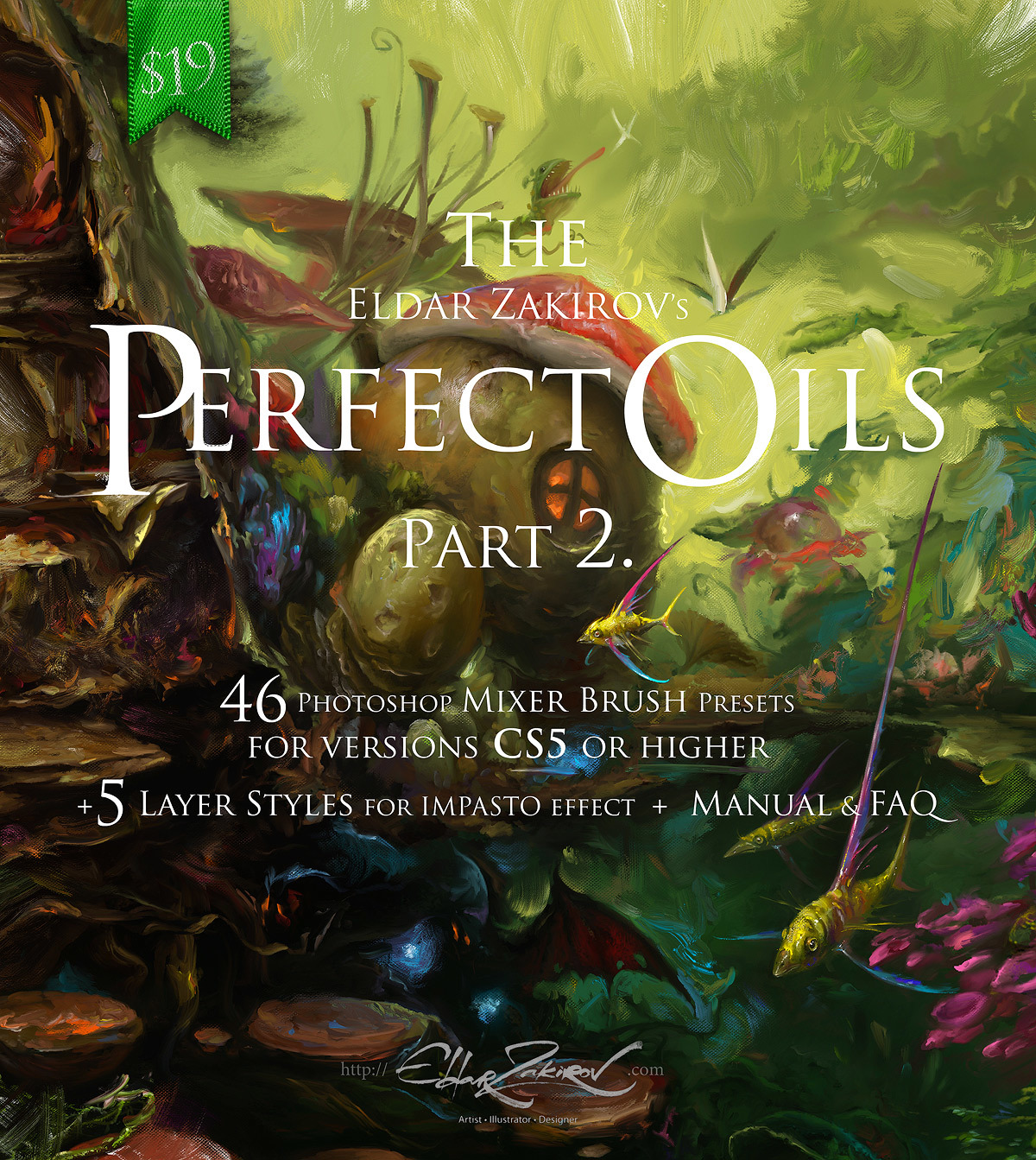 """The Perfect Oils. Part 2. 46 Mixer Brush Presets for Photoshop CS5+ and 5 """"Impasto"""" Lay..."""