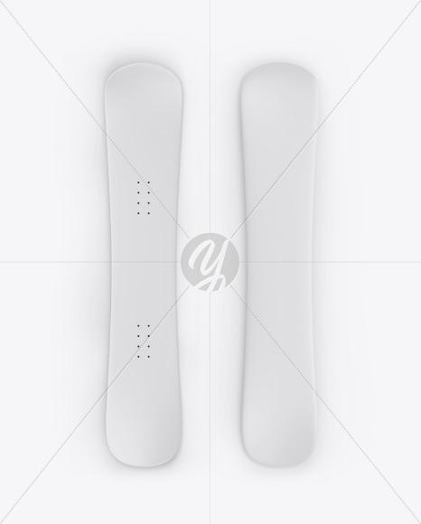 Matte Snowboard Mockup - Top & Back Sides - Yellowimages Mockups