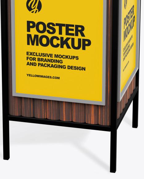 Advertising Rubbish Bin Mockup - Top Half Side View