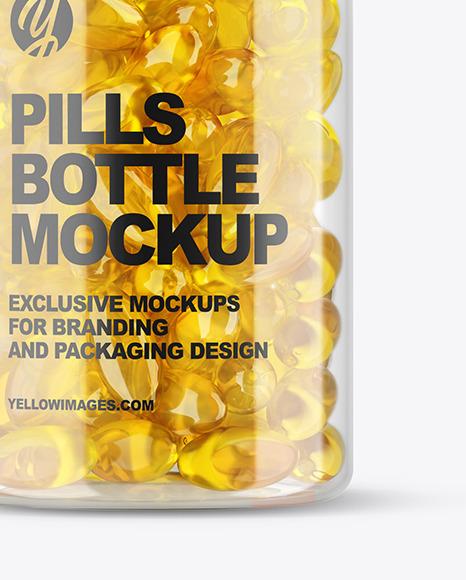 Clear Fish Oil Bottle Mockup