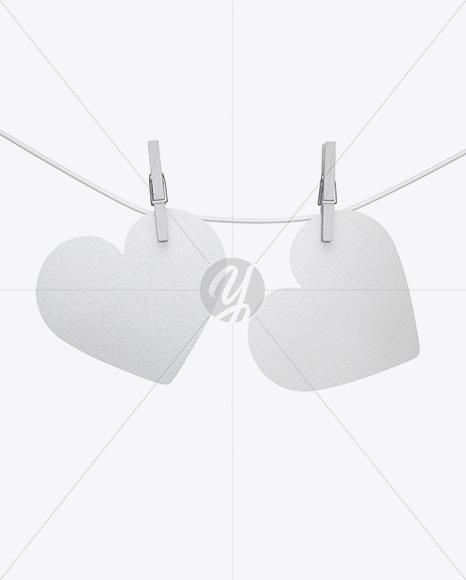 Textured Heart Shaped Cards w/ Pins Mockup