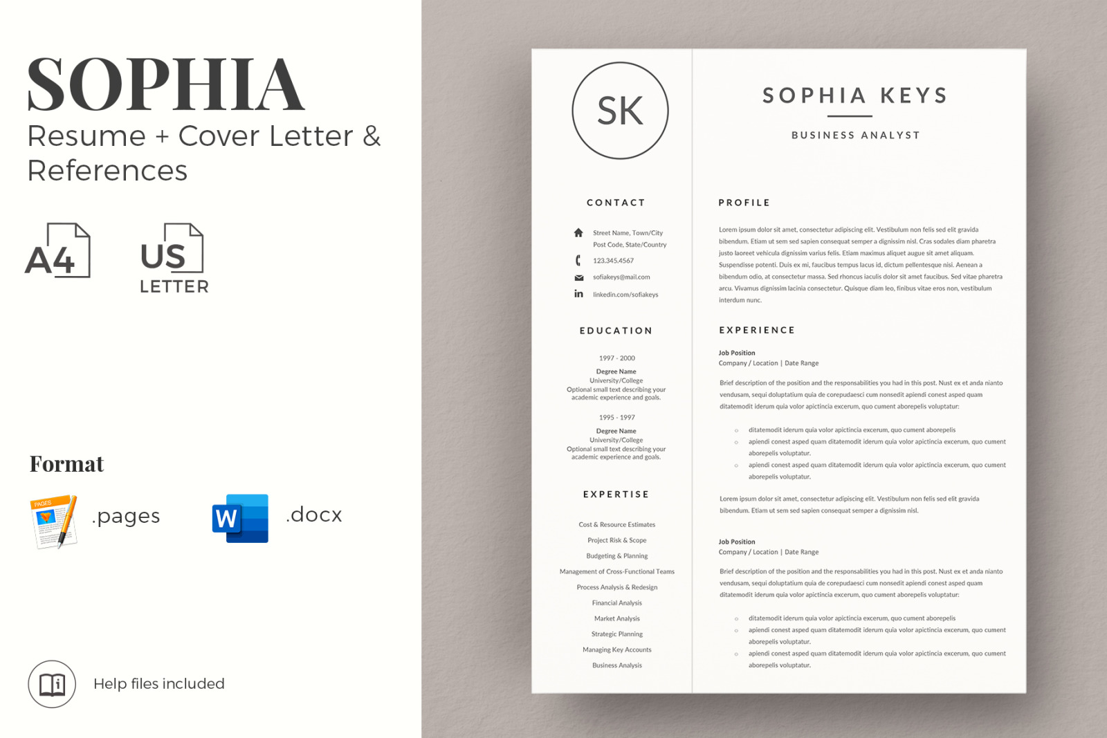Minimalist Resume Cv Layout With Logo For Ms Word Mac Pages Cover Letter References Icon Set In Resume Templates On Yellow Images Creative Store